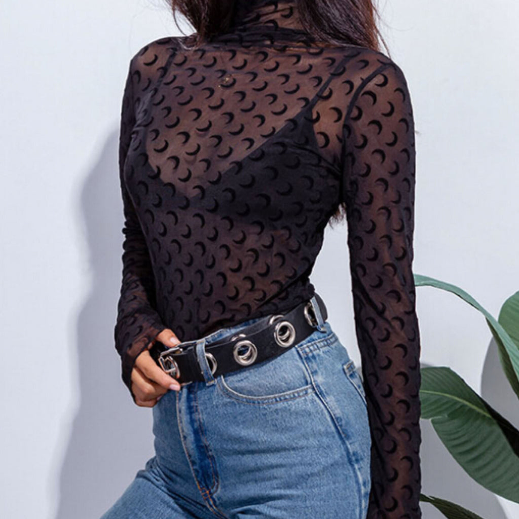 2019 SPRING SUMMER - MOON CHILD LONG SLEEVE MOCK NECK Sheer Top