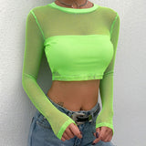 2019 SPRING SUMMER - 80s neon fishnet CROP TOP FISHNET