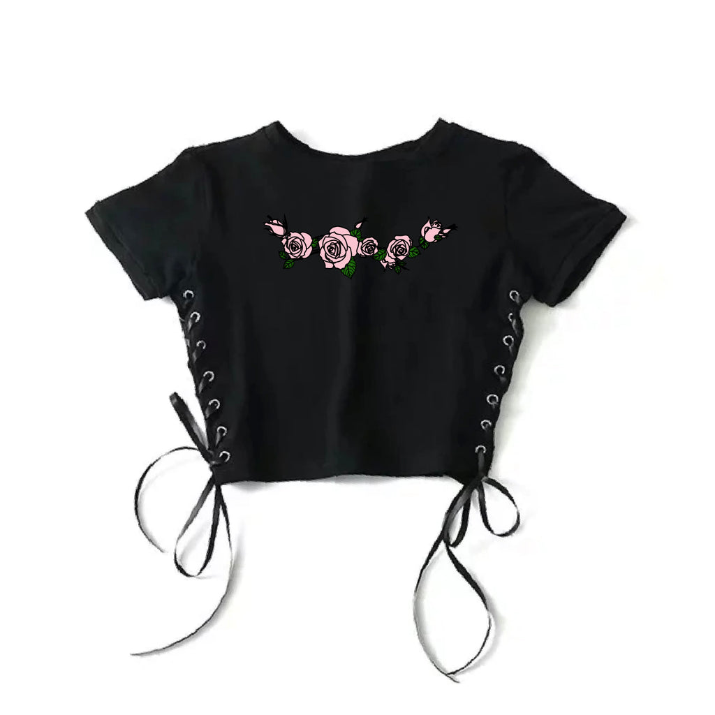 2019 Fall Winter New Collection- PINK ROSE lace up crop top