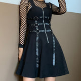 2019 GOTH DRESS - EYELET CHAIN ZIP UP DRESS