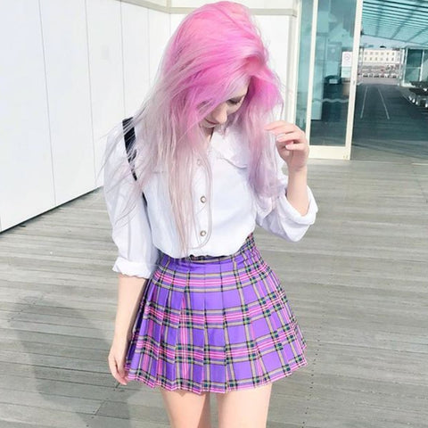2018 KAWAII LAVENDER PURPLE PLAID SKIRT