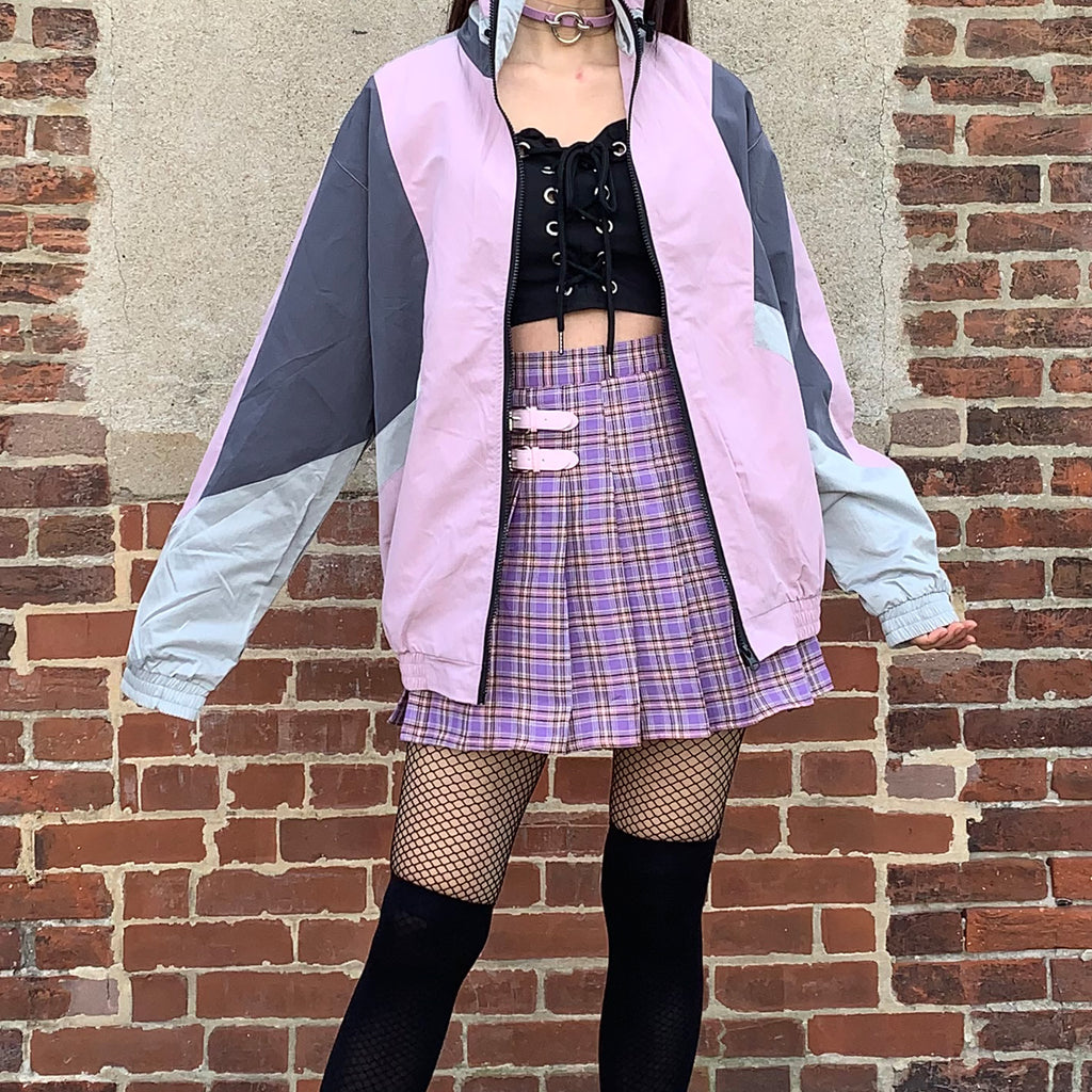 "2019 NEW COLOR BLOCK ""I PURPLE U"" UNISEX VINTAGE STYLE 90S JACKET"