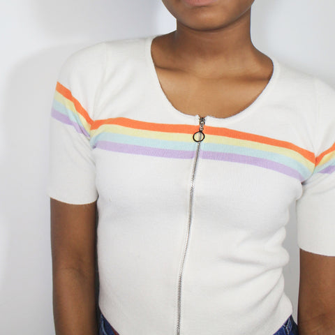 VALENTINE'S DAY SALE- RAINBOW ZIPPER TOP