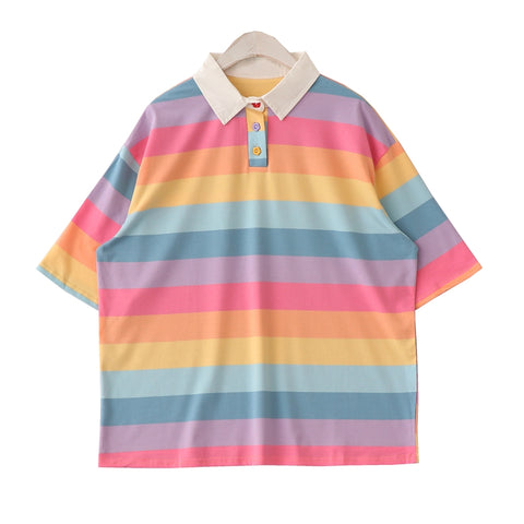 2019 NEW- Rainbow ART HOE PASTEL RAINBOW polo top