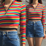 2018 NEW RAINBOW 90S COLLECTION - CROP TOP ZIP UP