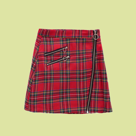 2020 new red tartan A line skirt