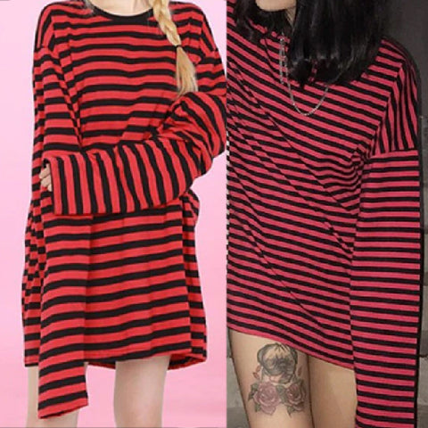 KAWAII RED STRIPED LOOSE FIT TEE