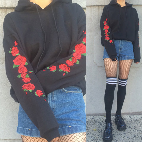 SOFT GRUNGE-ROSE Embroidery HOODIE jumper crop top