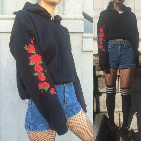 2017 BLACK FRIDAY - ROSE- SOFT GRUNGE-ROSE Embroidery HOODIE jumper crop top