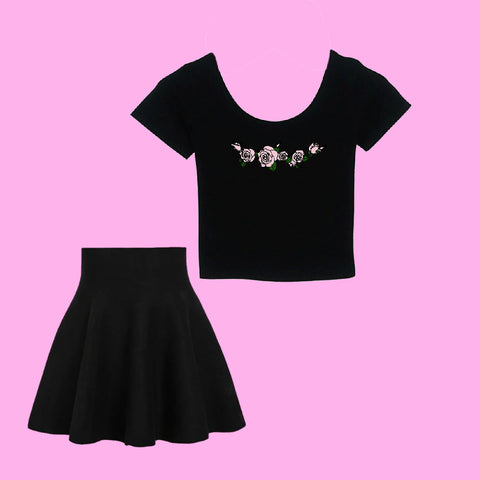 TWO MOODS COLLECTION- PINK BLACK ROSE Crop Top & Skirt SET - PREORDER