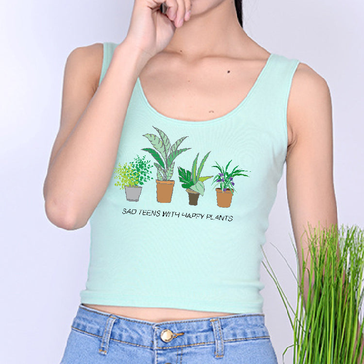 NOVEMBER SPECIAL DEAL - SAD TEENS HAPPY PLANTS CROP TOP