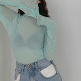 2020 SHEER PASTEL LONG SLEEVE MOCK NECK TOP