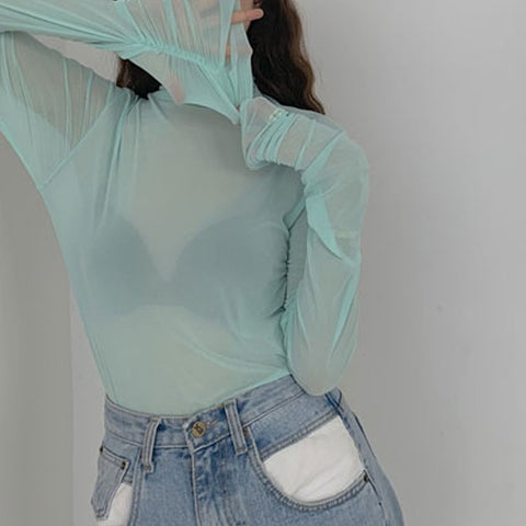 2019 SHEER PASTEL LONG SLEEVE MOCK NECK TOP