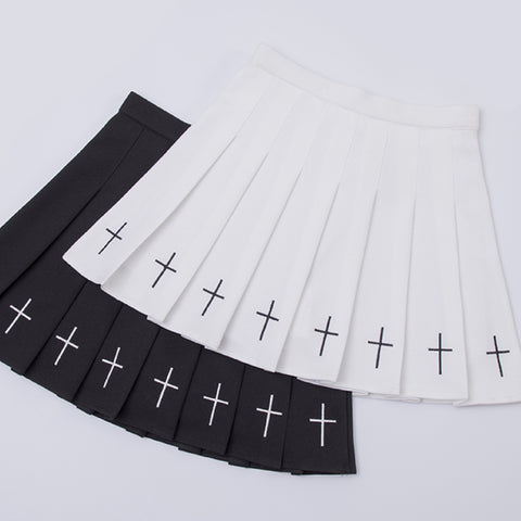 2019 GOTH Embroidery PLEATED SKIRT