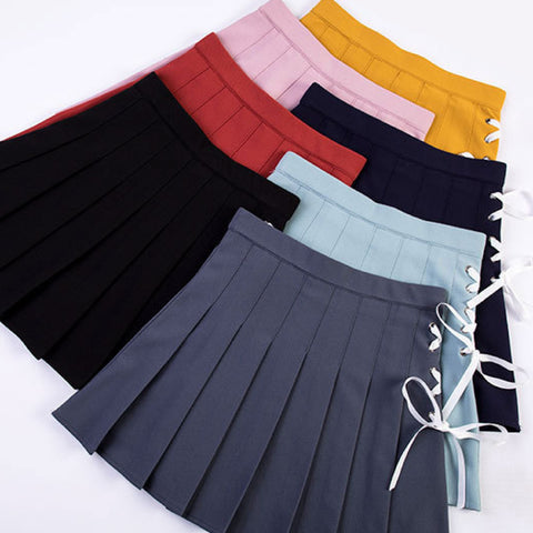 2018 KAWAII LACE UP PLEATED SKIRT