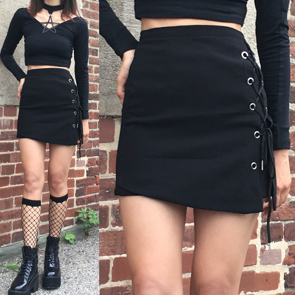 2018 Goth lace up A-Line skirt