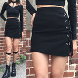 Goth lace up A-Line skirt