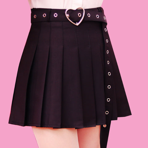 2018 Kawaii Goth-heart belt skirt