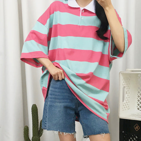 2019 BACK TO SCHOOL PROMOTION - STRIPED COLLAR SHIRT LOOSE FIT