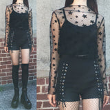 2018 SHEER STAR + LACE UP GOTH SHORTS OUTFIT