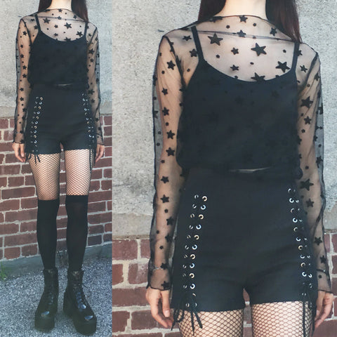 2019 SHEER STAR + LACE UP GOTH SHORTS OUTFIT