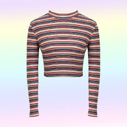 SOFT GRUNGE RAINBOW STRIPED  CROP TOP