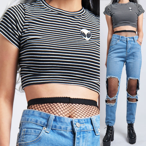 Alien stripe Crop Top -HIGH QUALITY COMBED COTTON