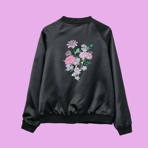 J2017 BLACK FRIDAY-UST TAKE THESE FLOWERS bomber jacket
