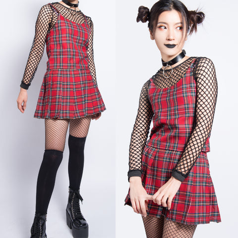 2019 new item LOVE KILLS RED PLAID TOP AND SKIRT SET