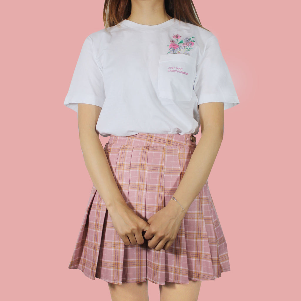 PINK KAWAII PLAID SKIRT