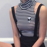SAMPLE- KOKO Alien stripe Turtleneck Crop Top
