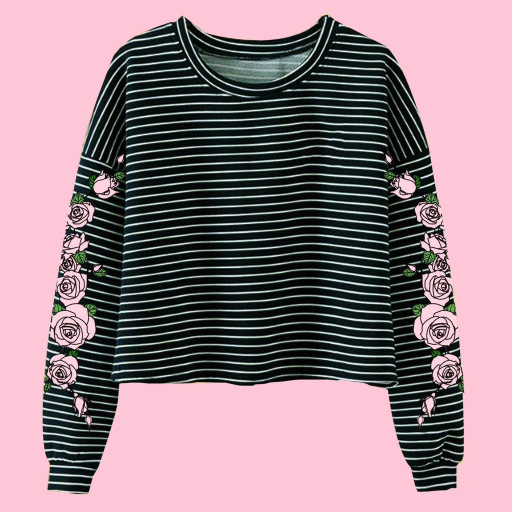 TWO MOODS COLLECTION- PINK BLACK  -NEW PINK ROSE STRIPED LONG SLEEVE CROPTOP