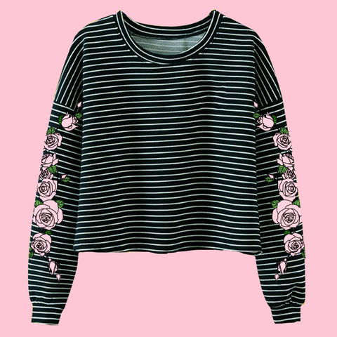 2017 BLACK FRIDAY - TWO MOODS COLLECTION- PINK BLACK  -NEW PINK ROSE STRIPED LONG SLEEVE CROPTOP