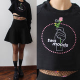 NEW!-two moods tumblr grunge rose neon sign - FLEECE CROP TOP (MADE IN USA- SWEATSHOP-FREE)