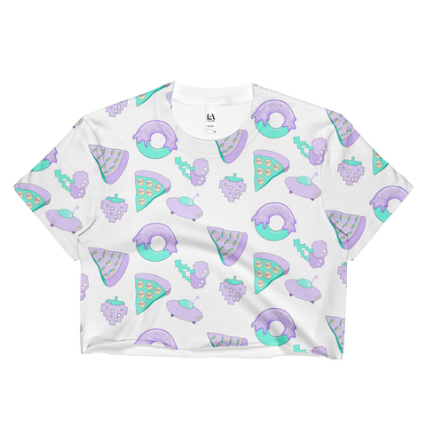 NEW 2017 SUMMER PIZZA UFO ALL OVER CROP TOP -MADE IN USA (SWEATSHOP-FREE)