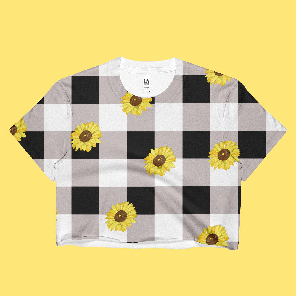 KOKO- SUNFLOWER PLAID VINTAGE 90S INSPIRED- CROP TOP -MADE IN USA (SWEATSHOP-FREE)