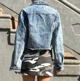 90S KIDS WASHED LIGHT DENIM CROPPED JACKET