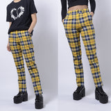NEW! 90S GRUNGE Plaid High waist Trousers