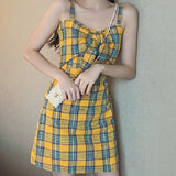 TUMBLR SOFT GIRL - VINTAGE STYLE PREPPY PLAID Yellow DRESS