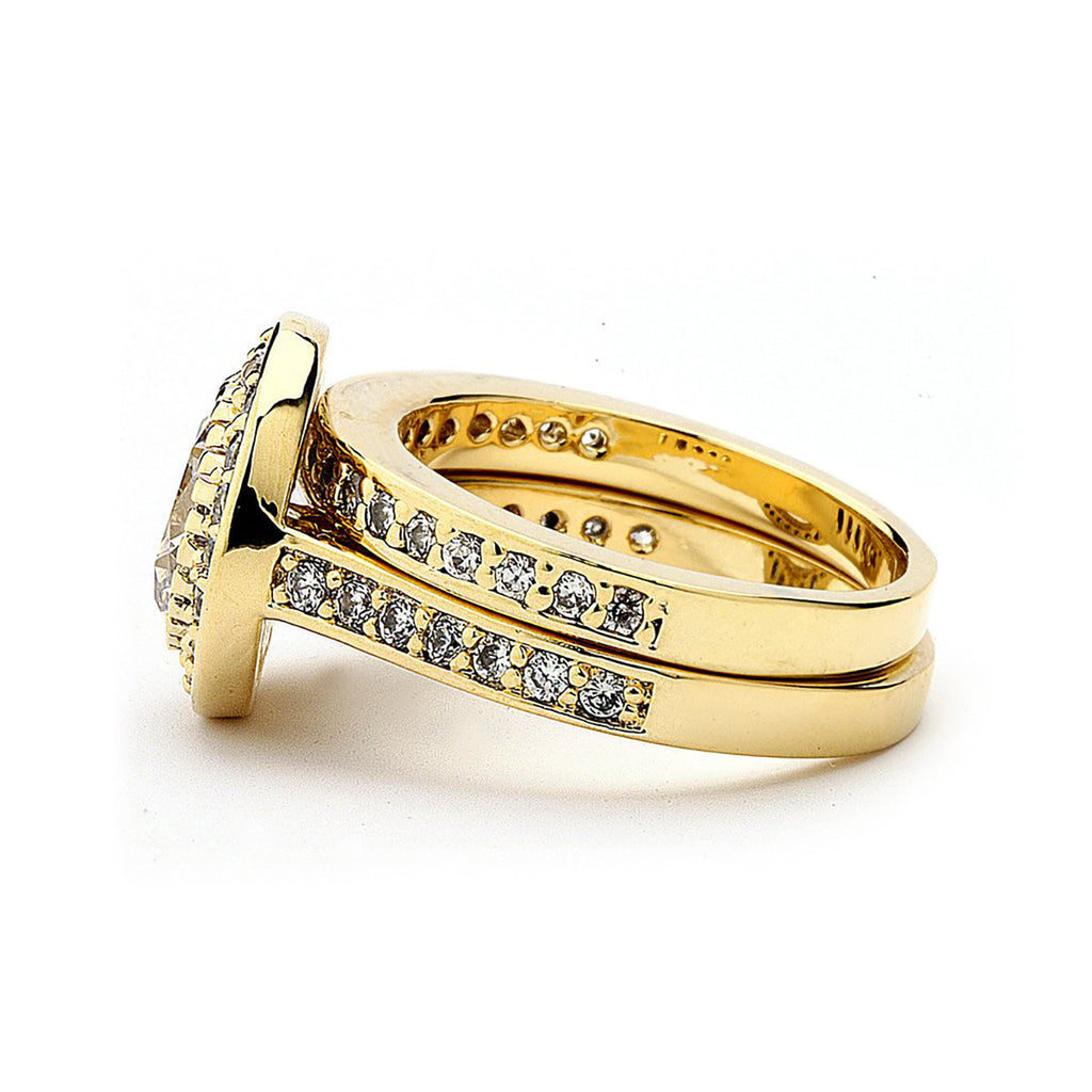 2 CTS CZ Round Cut Wedding Ring Set
