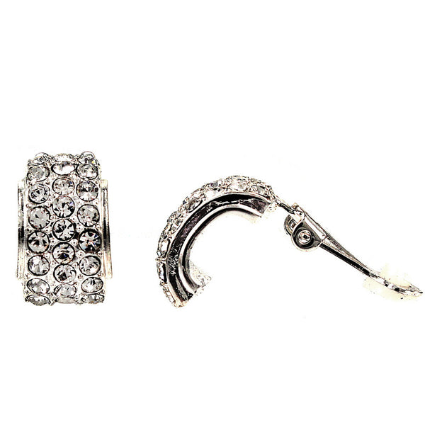 Rhodium Plated Pave Crystal Clip On Earrings