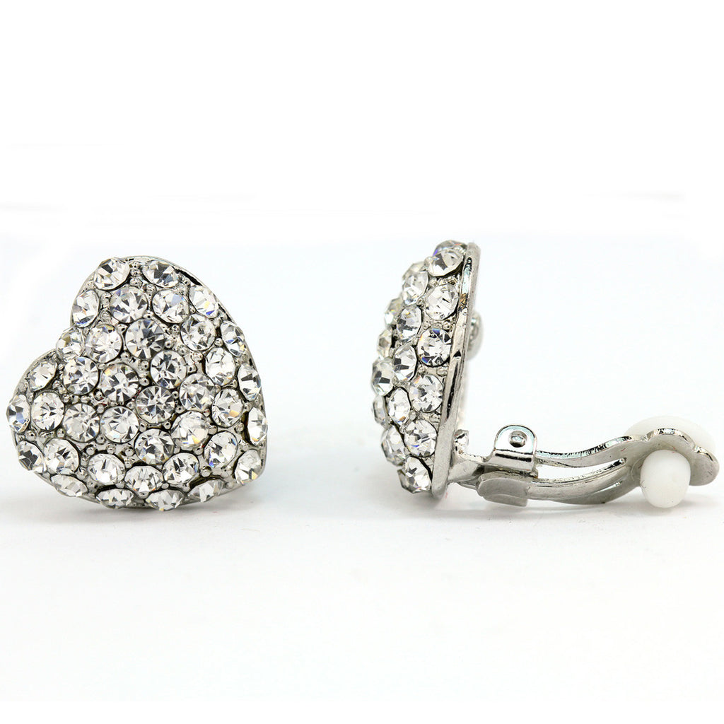 Pave Crystal Heart Clip On Earrings