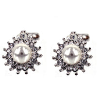 Pearl Crystal Clip On Earrings