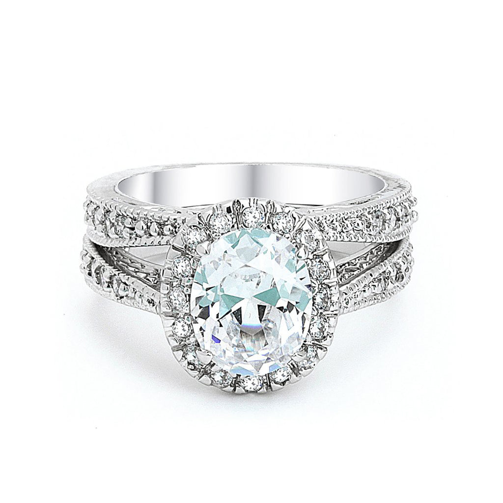 Oval Cut CZ Wedding Ring Set