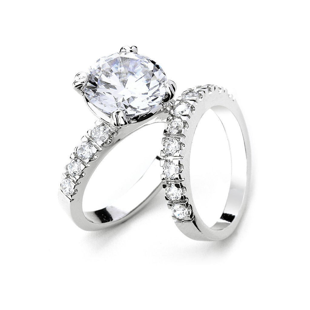5 cts CZ Double Engagement Ring Set