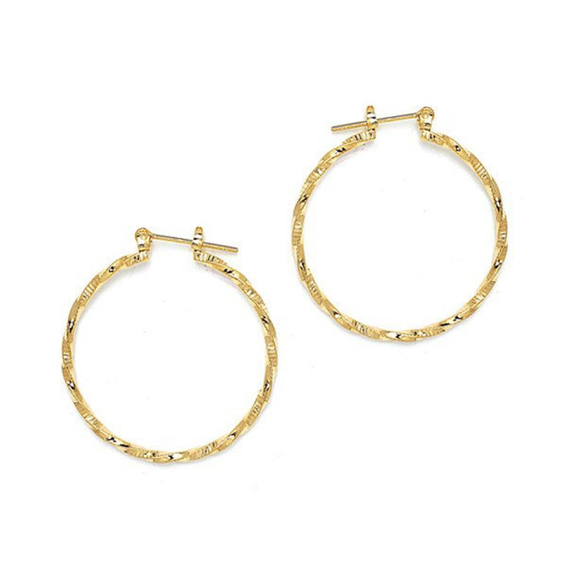 Gold Plated Twisted Pattern Round Pincatch Earrings