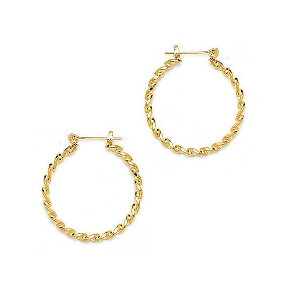 Gold Twised Round Pincatch Earrings
