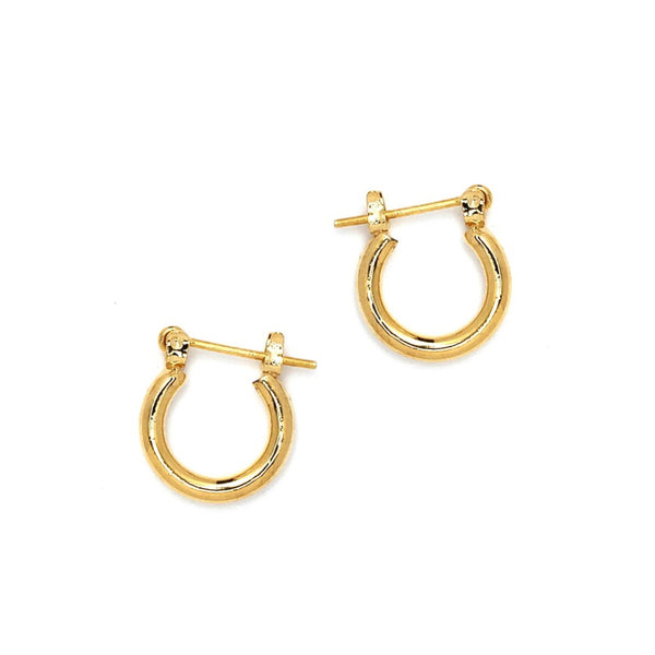 Gold Plated Round Hoop Pincatch Earrings