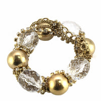 Gold Ball Stretch Bracelet with Crystal Accents