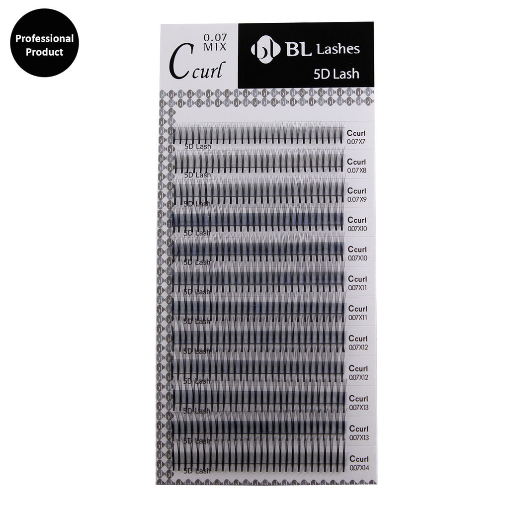 Professional Mink 5D Individual Lash C Curl 0.07X7~14mm 8 sizes in 1 Mixed Tray